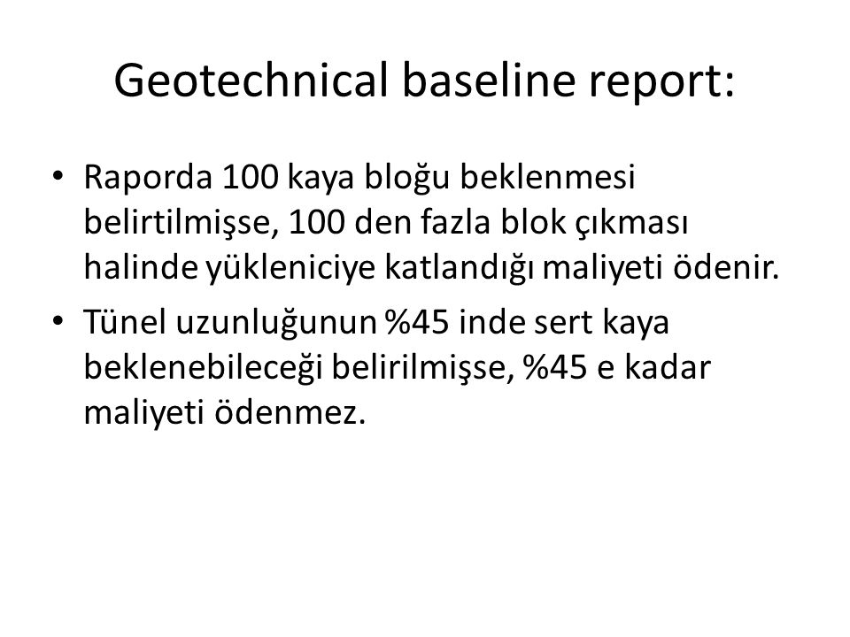 Geotechnical baseline report: