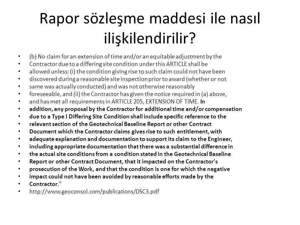 Rapor sözleşme maddesi ile nasıl ilişkilendirilir