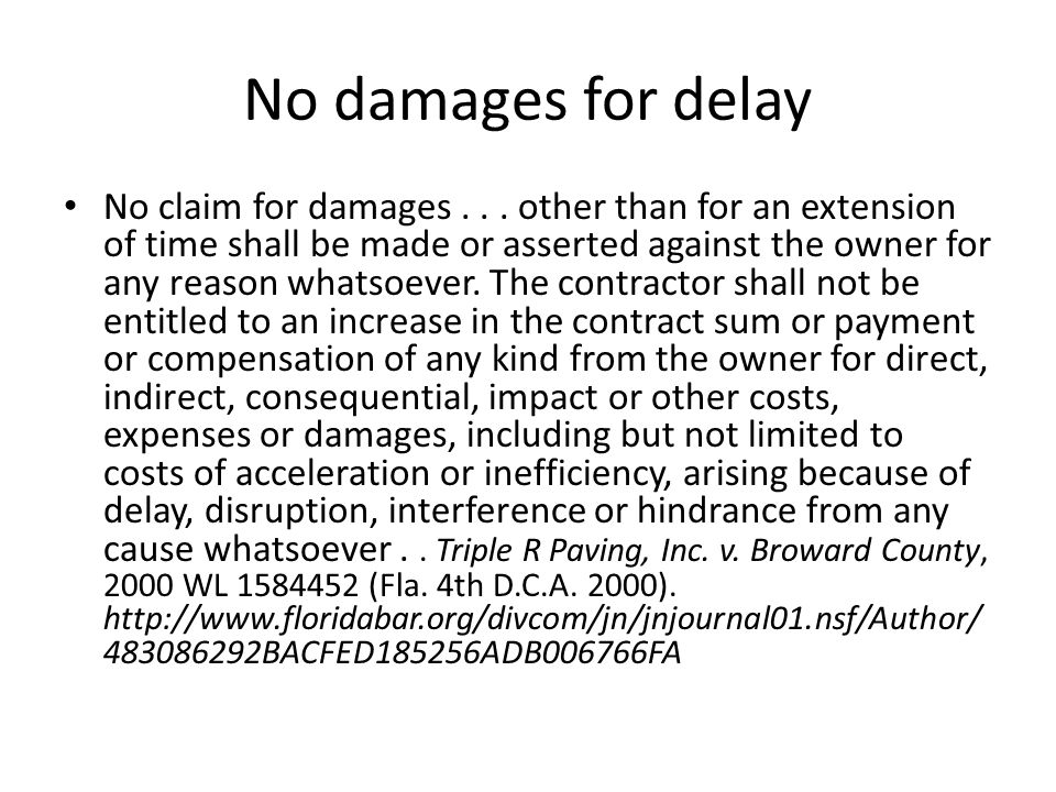 No damages for delay