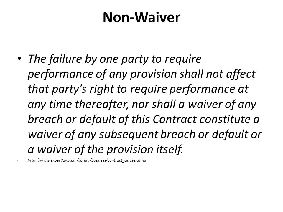Non-Waiver