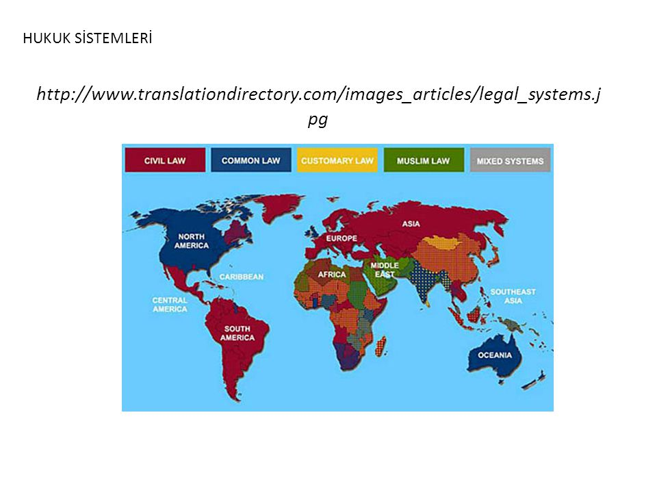 HUKUK SİSTEMLERİ http://www.translationdirectory.com/images_articles/legal_systems.jpg