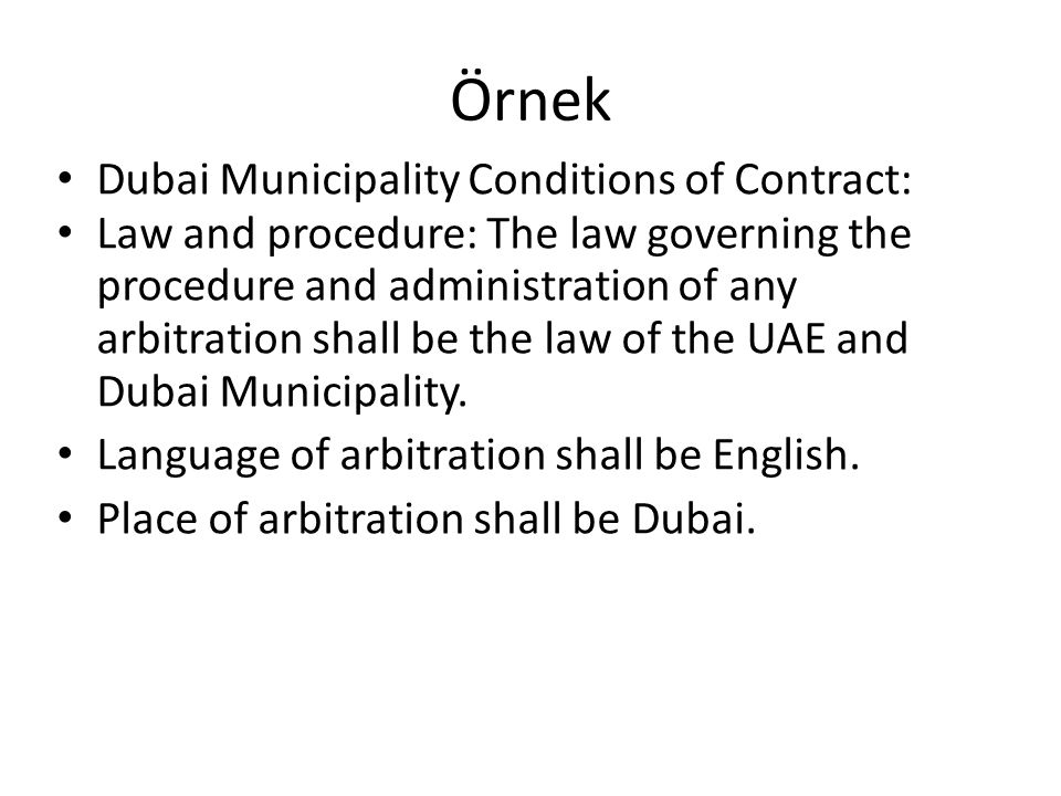 Örnek Dubai Municipality Conditions of Contract: