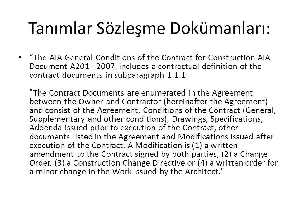 Tanımlar Sözleşme Dokümanları: