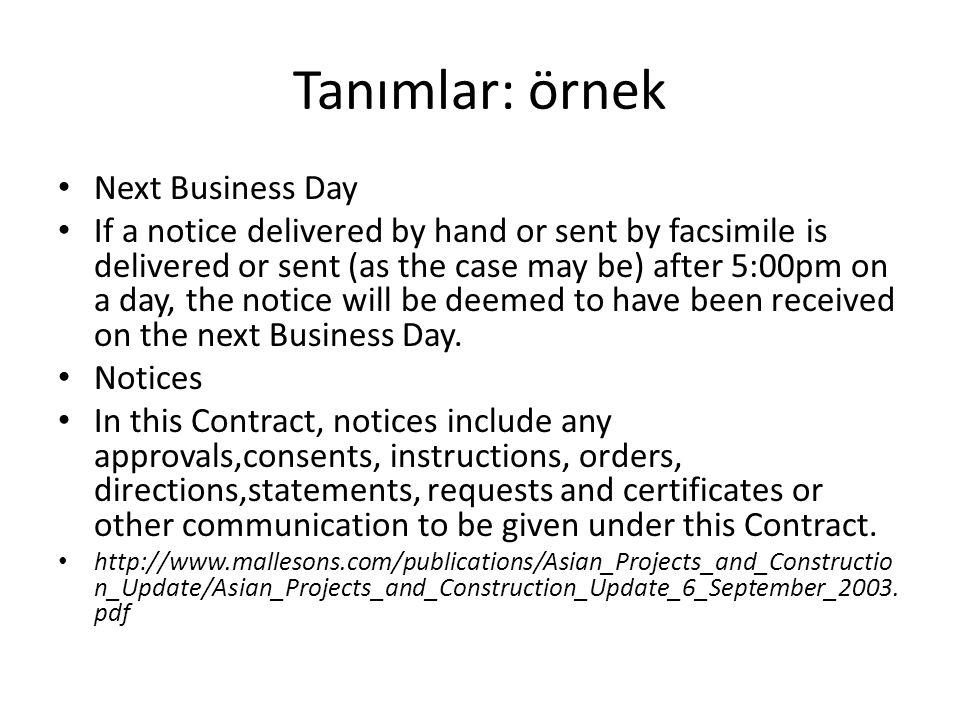 Tanımlar: örnek Next Business Day