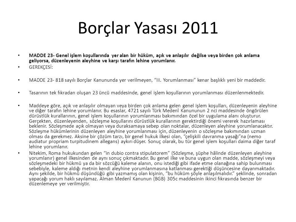 Borçlar Yasası 2011