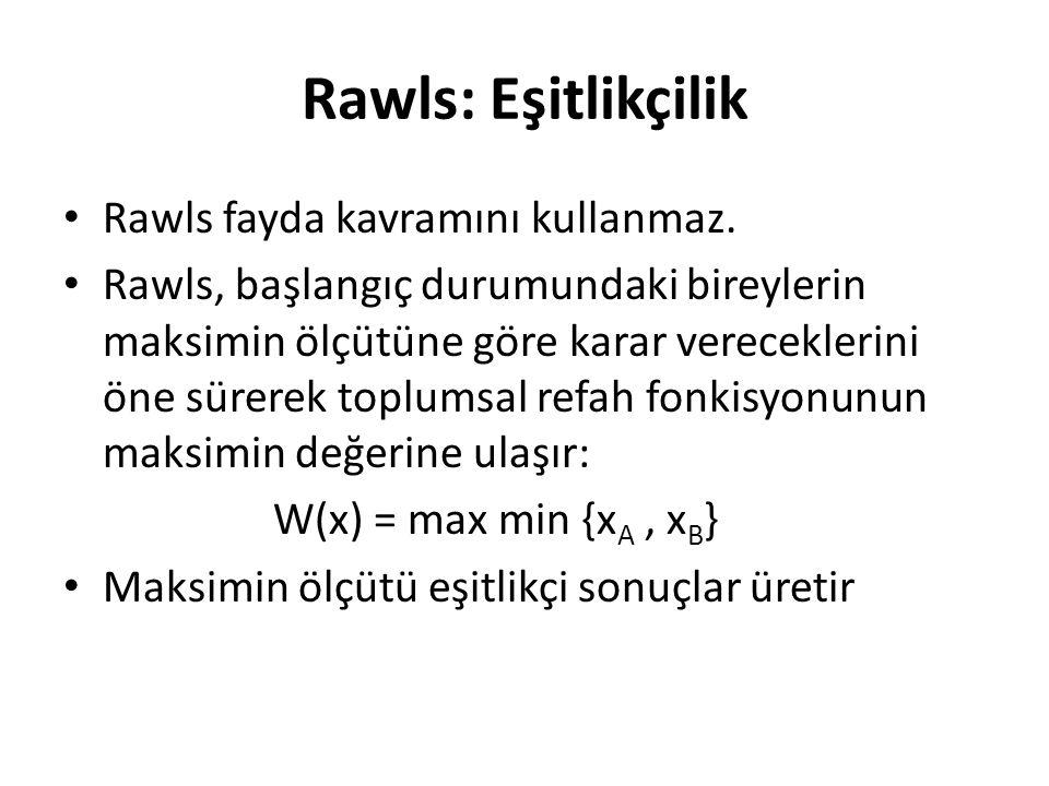 Rawls: Eşitlikçilik Rawls fayda kavramını kullanmaz.