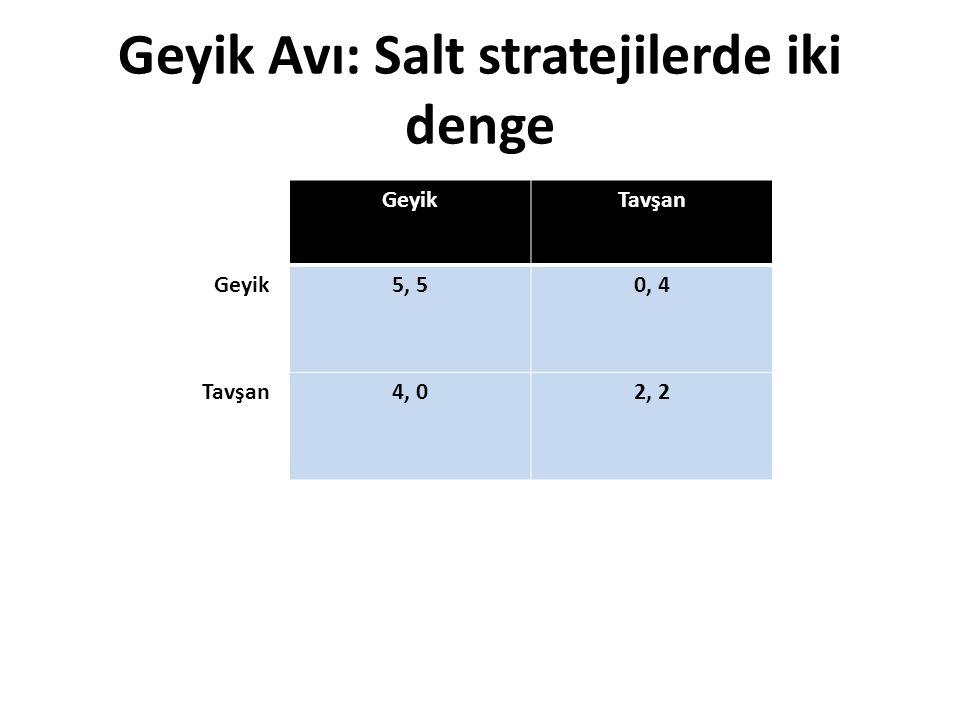 Geyik Avı: Salt stratejilerde iki denge