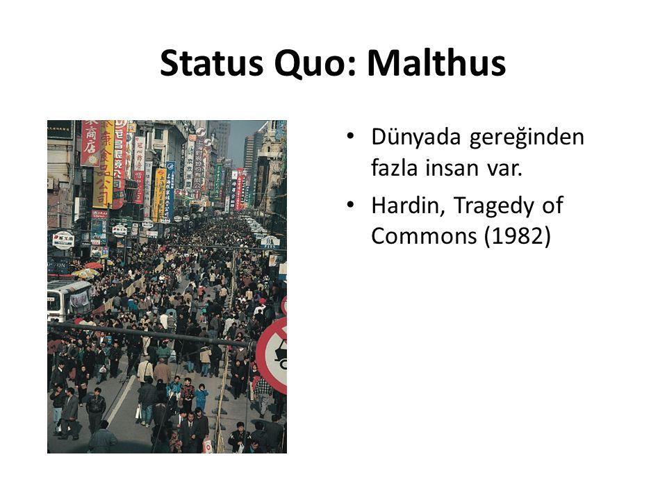 Status Quo: Malthus Dünyada gereğinden fazla insan var.