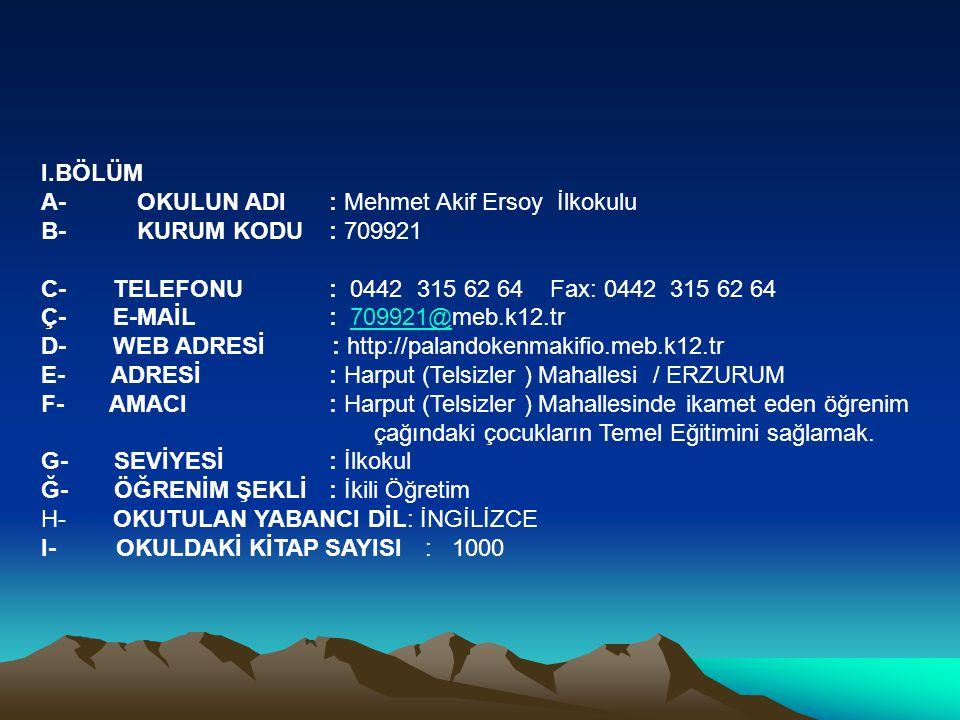 I.BÖLÜM A- OKULUN ADI : Mehmet Akif Ersoy İlkokulu. B- KURUM KODU : 709921. C- TELEFONU : 0442 315 62 64 Fax: 0442 315 62 64.