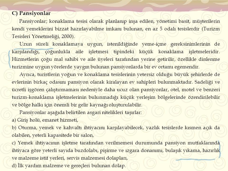 C) Pansiyonlar