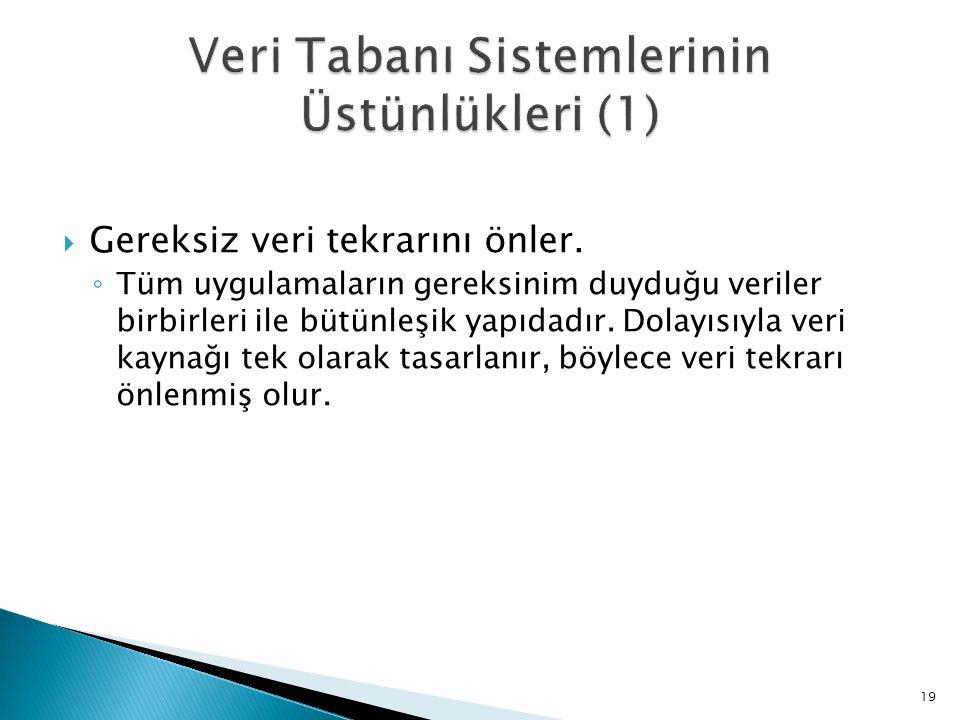 Veri Tabanı Sistemlerinin Üstünlükleri (1)