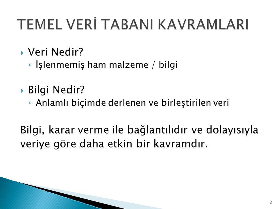 TEMEL VERİ TABANI KAVRAMLARI
