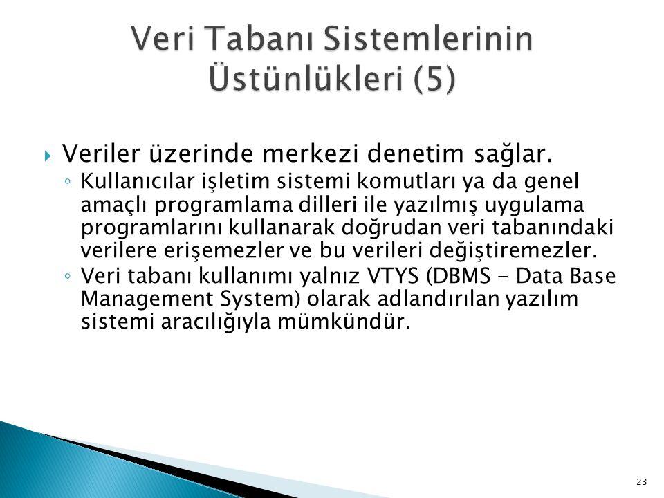 Veri Tabanı Sistemlerinin Üstünlükleri (5)