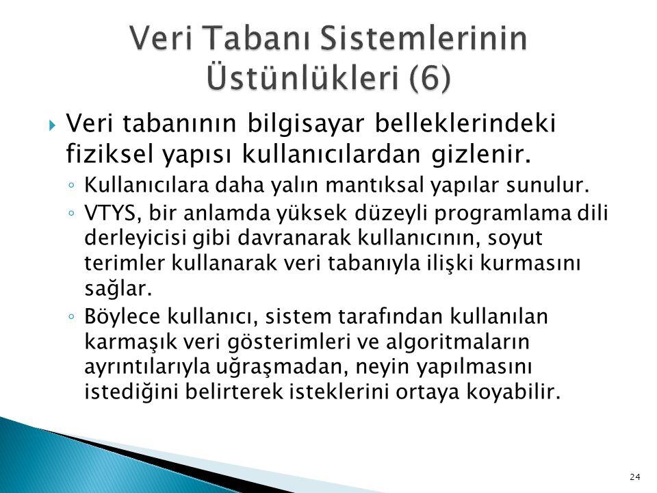 Veri Tabanı Sistemlerinin Üstünlükleri (6)