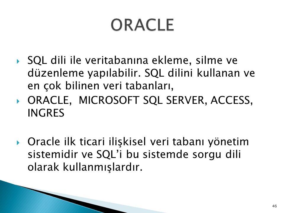 ORACLE SQL dili ile veritabanına ekleme, silme ve düzenleme yapılabilir. SQL dilini kullanan ve en çok bilinen veri tabanları,