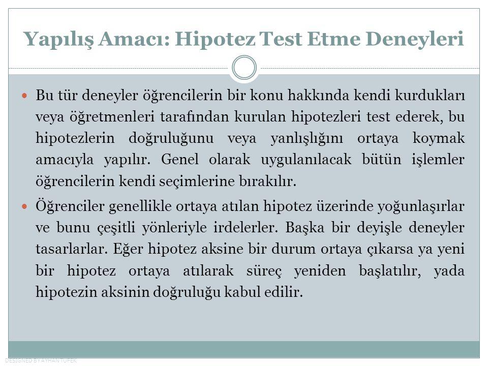 Yapılış Amacı: Hipotez Test Etme Deneyleri