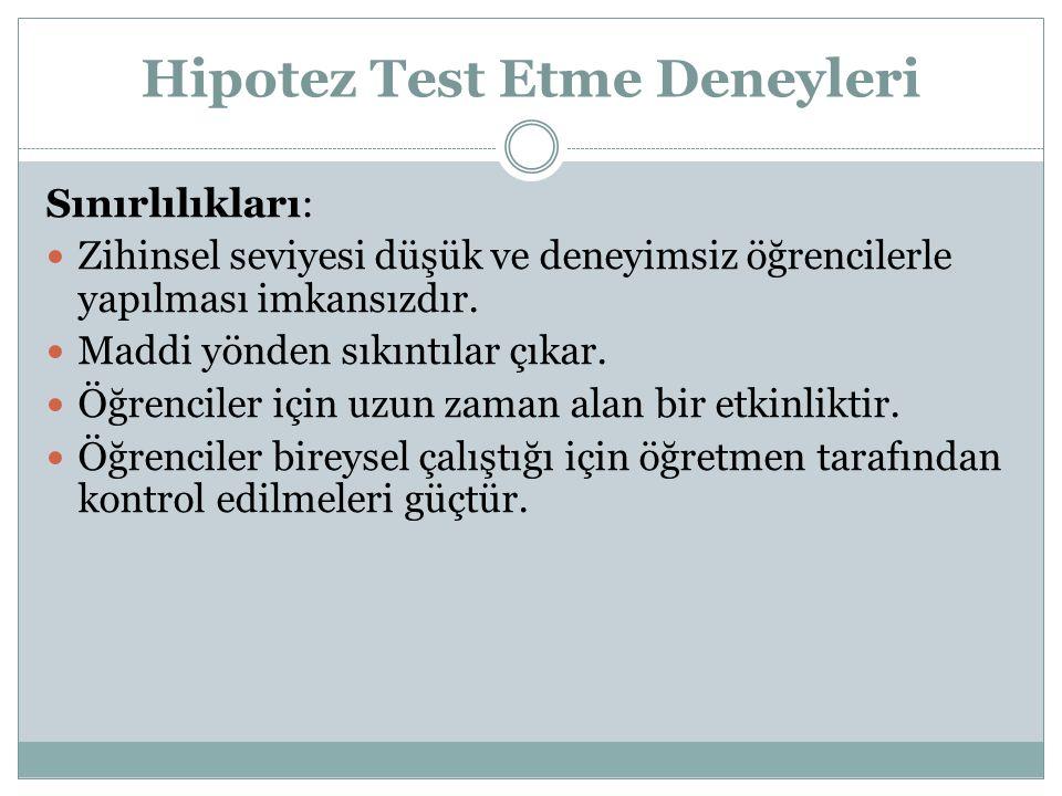 Hipotez Test Etme Deneyleri