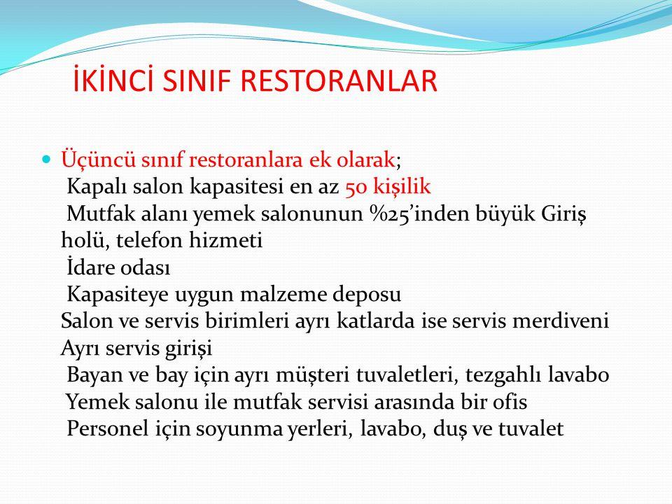 İKİNCİ SINIF RESTORANLAR