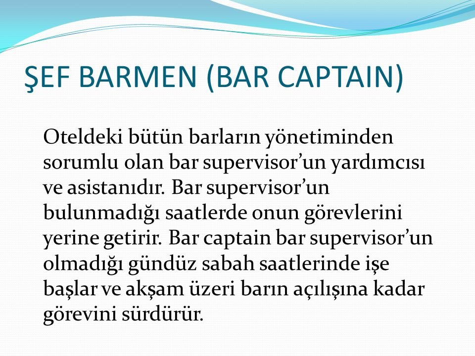 ŞEF BARMEN (BAR CAPTAIN)