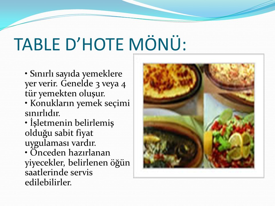 TABLE D'HOTE MÖNÜ: