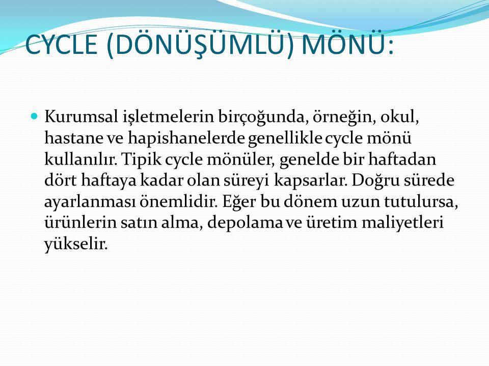 CYCLE (DÖNÜŞÜMLÜ) MÖNÜ:
