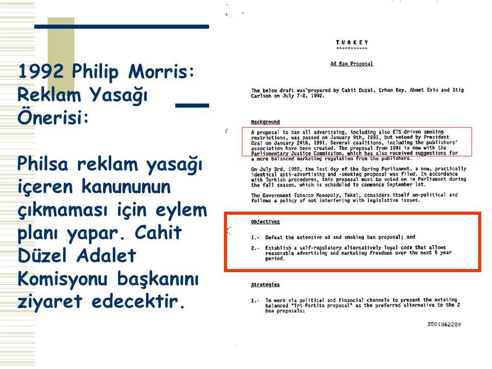 1992 Philip Morris: Reklam Yasağı Önerisi: Philsa reklam yasağı. içeren kanununun.