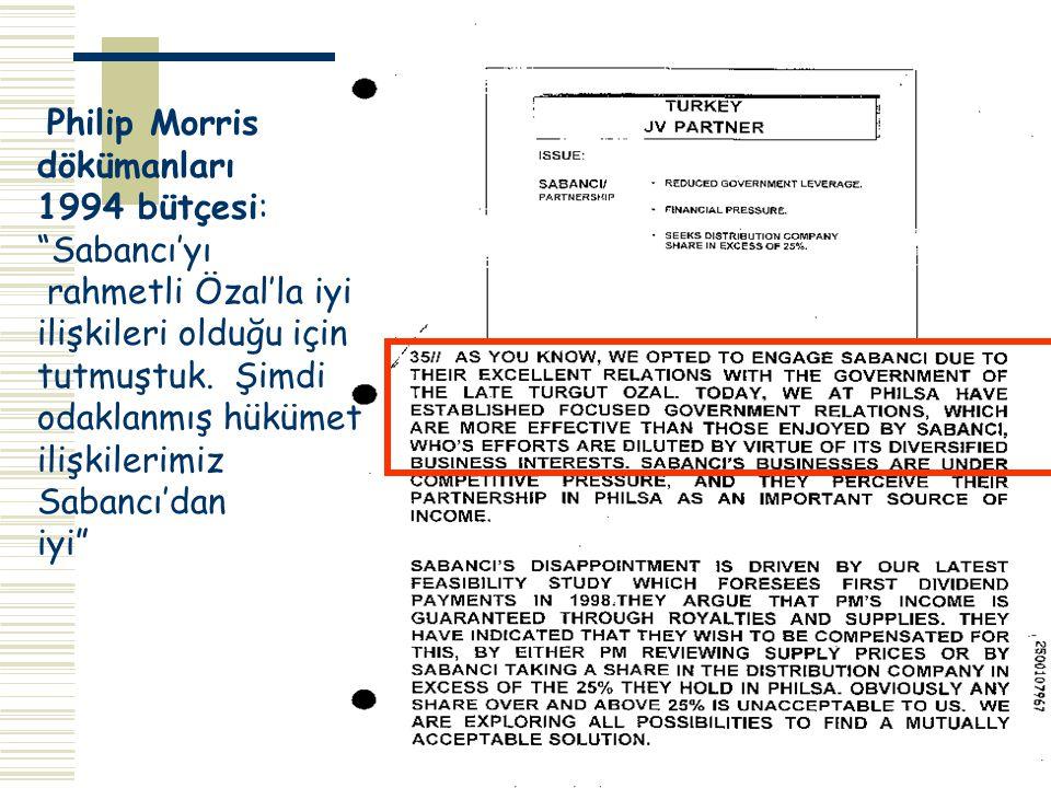 Philip Morris dökümanları. 1994 bütçesi: Sabancı'yı. rahmetli Özal'la iyi. ilişkileri olduğu için.