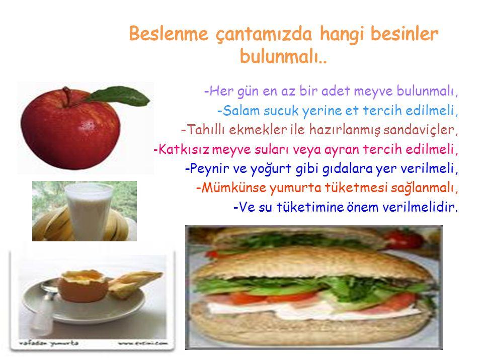 Beslenme çantamızda hangi besinler bulunmalı..
