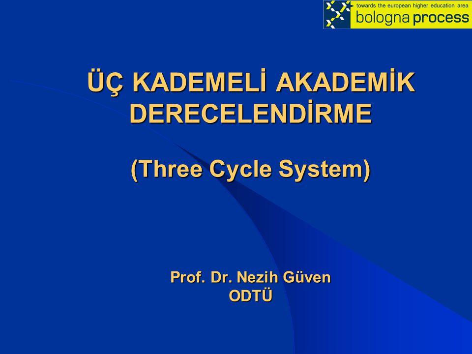 ÜÇ KADEMELİ AKADEMİK DERECELENDİRME (Three Cycle System) Prof. Dr