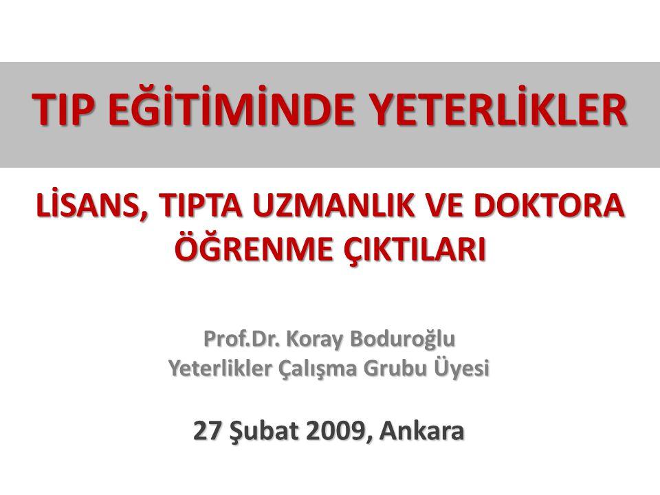 Prof.Dr. Koray Boduroğlu Yeterlikler Çalışma Grubu Üyesi