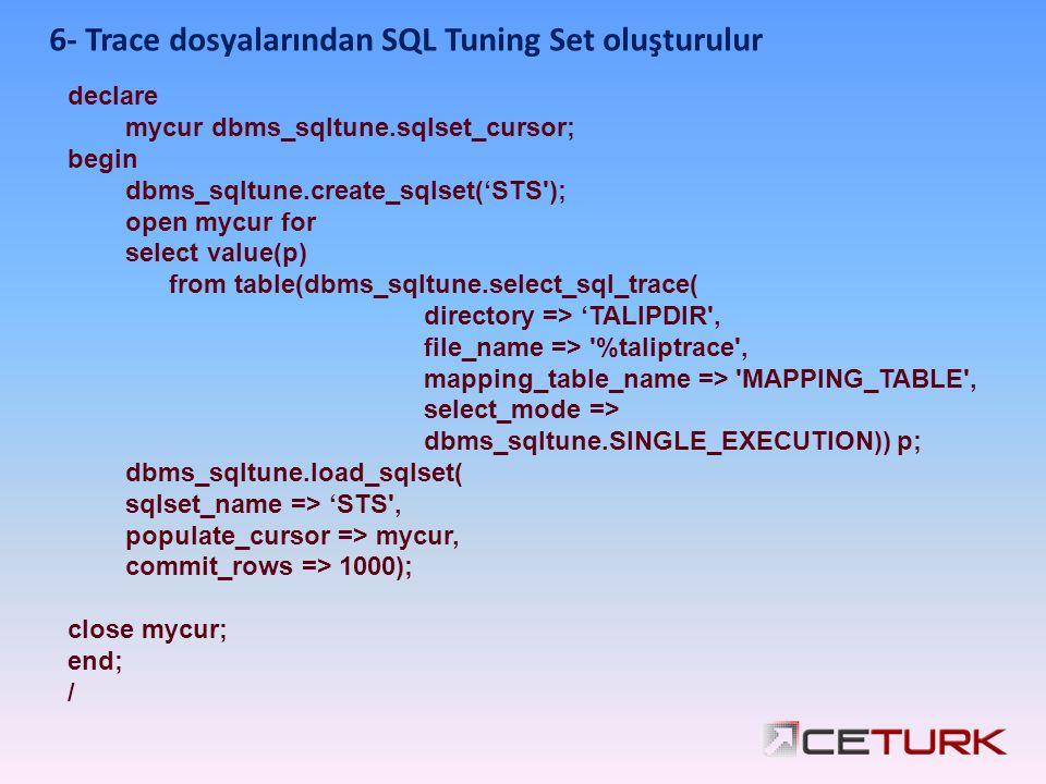 6- Trace dosyalarından SQL Tuning Set oluşturulur