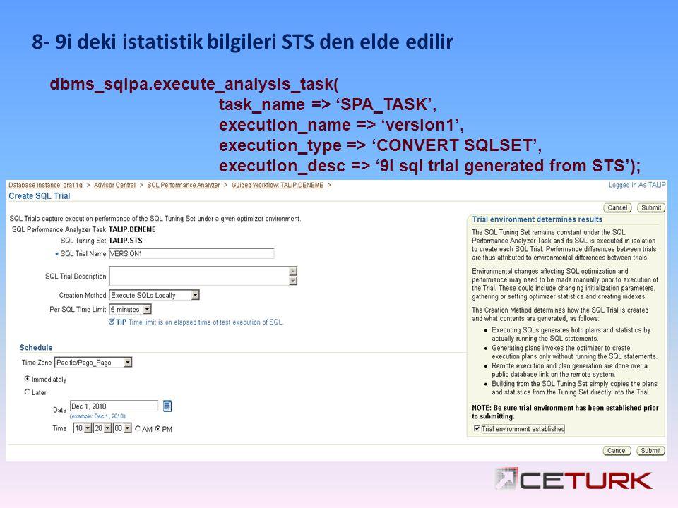8- 9i deki istatistik bilgileri STS den elde edilir