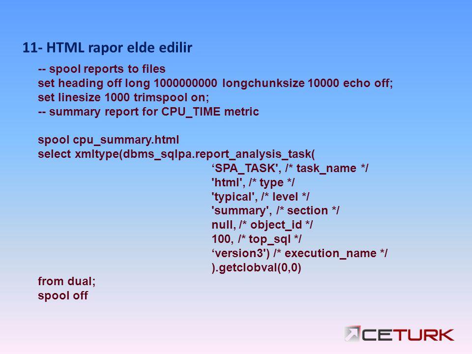 11- HTML rapor elde edilir