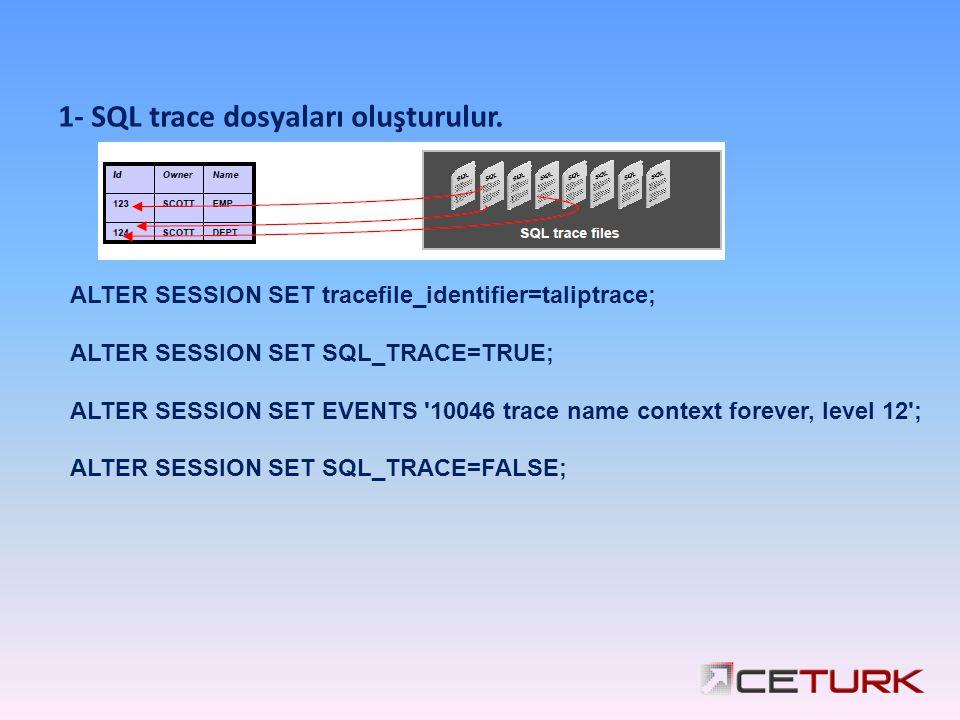 1- SQL trace dosyaları oluşturulur.
