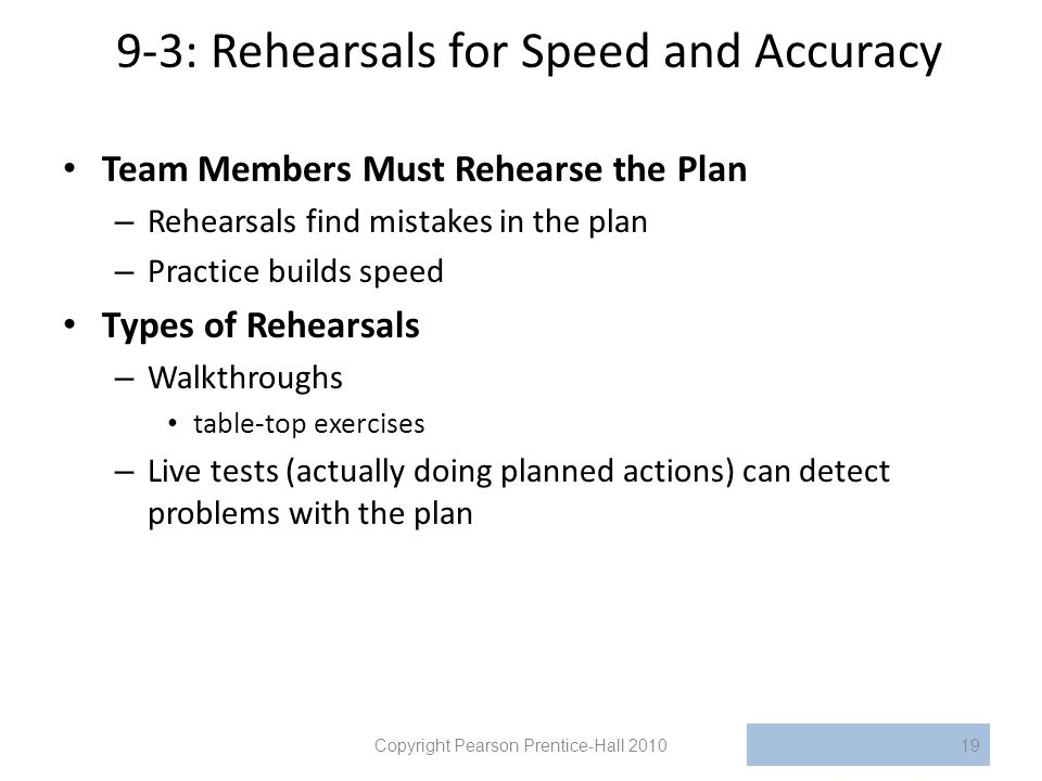 9-3: Rehearsals for Speed and Accuracy