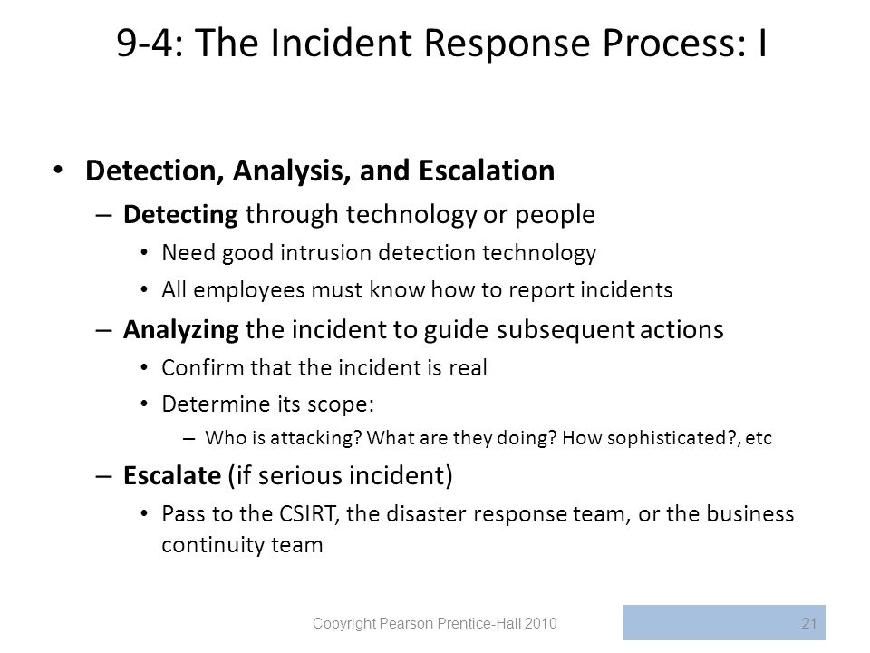 9-4: The Incident Response Process: I
