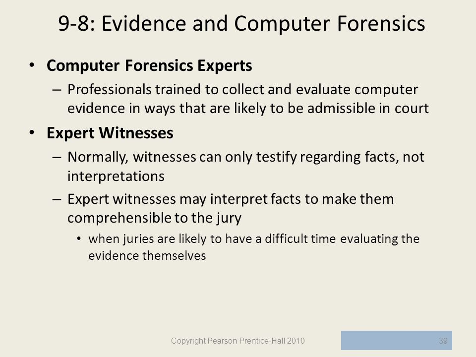 9-8: Evidence and Computer Forensics