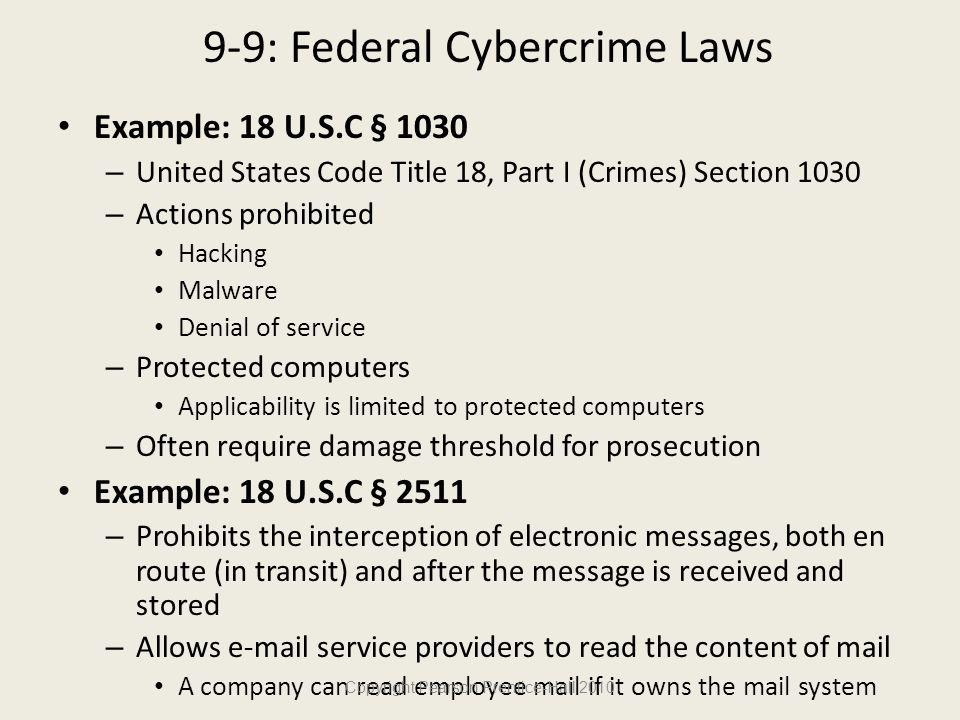 9-9: Federal Cybercrime Laws