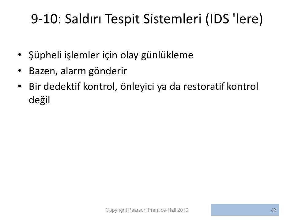 9-10: Saldırı Tespit Sistemleri (IDS lere)