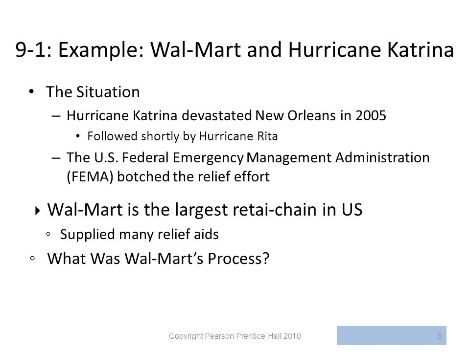 9-1: Example: Wal-Mart and Hurricane Katrina