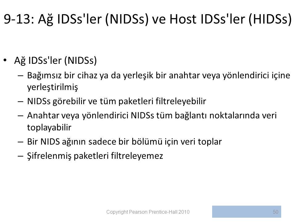 9-13: Ağ IDSs ler (NIDSs) ve Host IDSs ler (HIDSs)