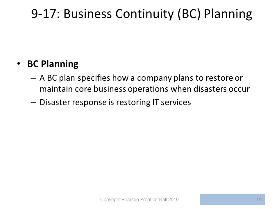 9-17: Business Continuity (BC) Planning