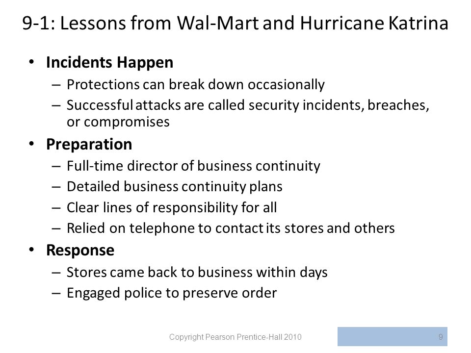 9-1: Lessons from Wal-Mart and Hurricane Katrina