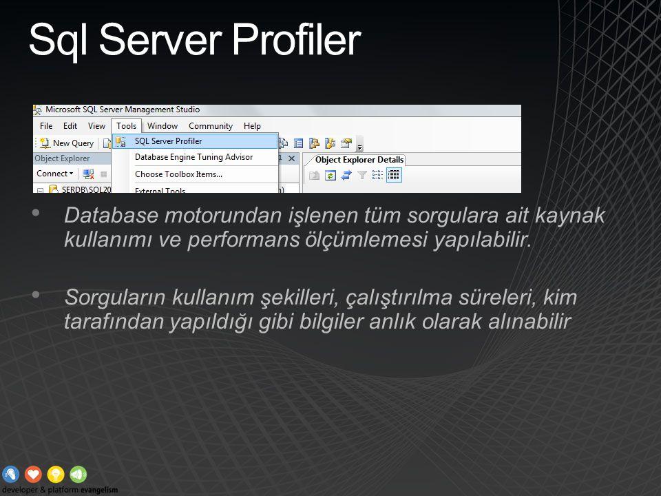 Sql Server Profiler Database motorundan işlenen tüm sorgulara ait kaynak kullanımı ve performans ölçümlemesi yapılabilir.