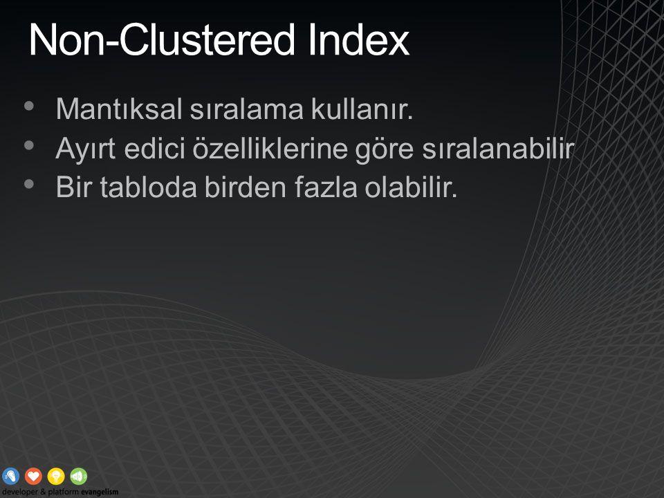 Non-Clustered Index Mantıksal sıralama kullanır.