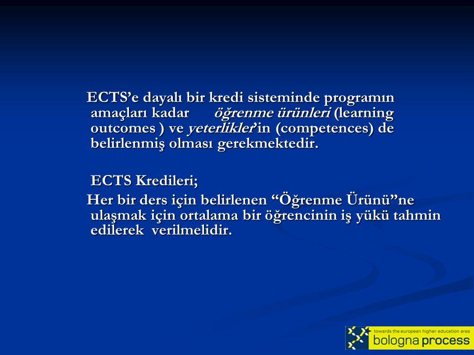 ECTS'e dayalı bir kredi sisteminde programın amaçları kadar öğrenme ürünleri (learning outcomes ) ve yeterlikler'in (competences) de belirlenmiş olması gerekmektedir.