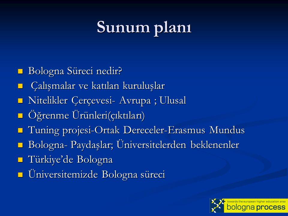 Sunum planı Bologna Süreci nedir Çalışmalar ve katılan kuruluşlar