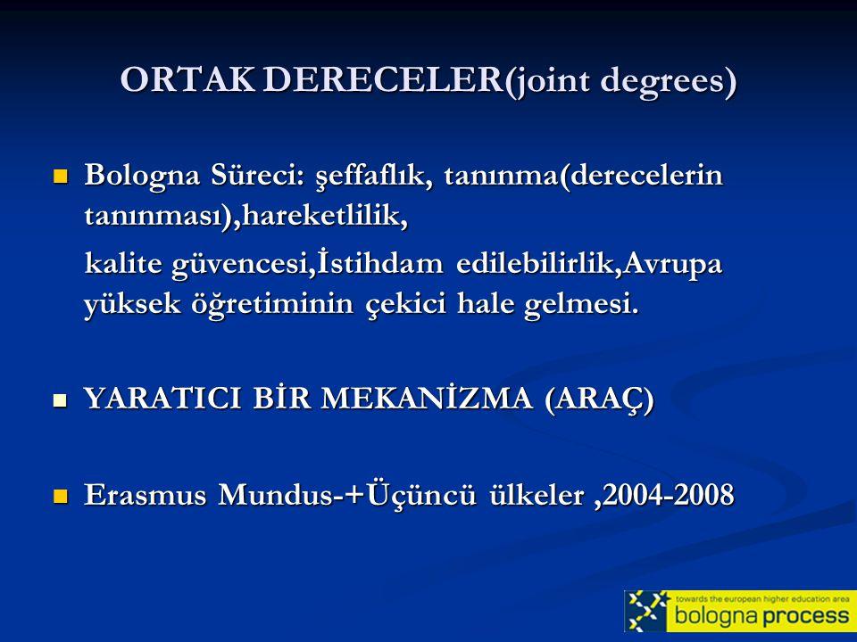 ORTAK DERECELER(joint degrees)
