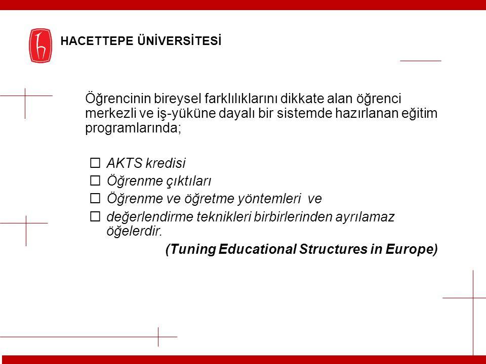 Öğrencinin bireysel farklılıklarını dikkate alan öğrenci merkezli ve iş-yüküne dayalı bir sistemde hazırlanan eğitim programlarında;