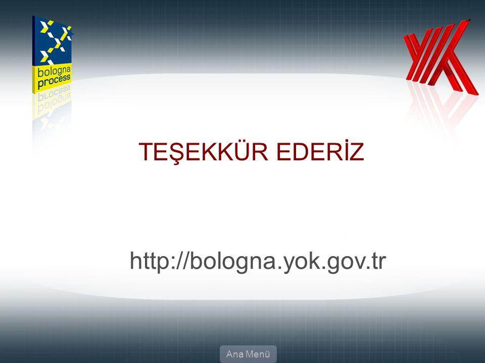 TEŞEKKÜR EDERİZ http://bologna.yok.gov.tr Ana Menü